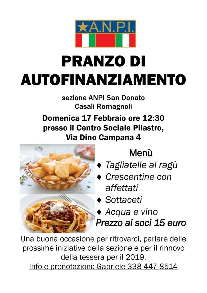 PRANZO DI AUTOFINANZIAMENTO - sezione ANPI San Donato Casali Romagnoli