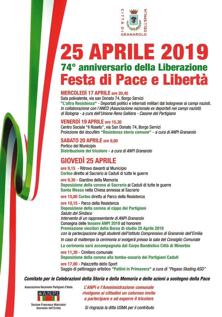 74° anniversario della Liberazione Festa di Pace e Libertà