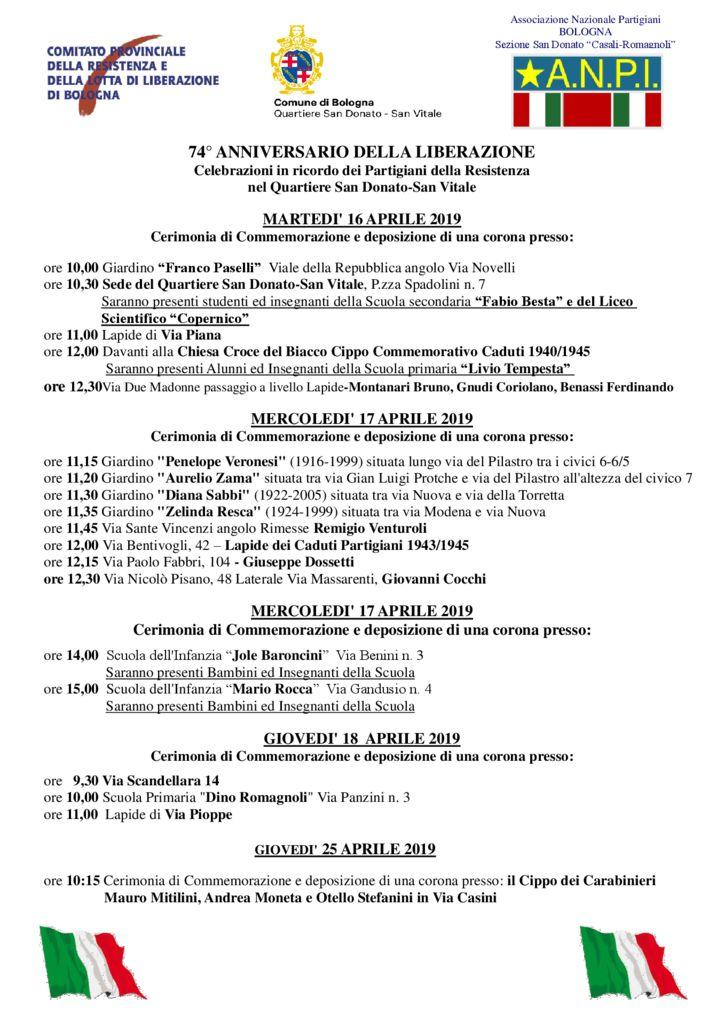74° ANNIVERSARIO DELLA LIBERAZIONE Celebrazioni in ricordo dei Partigiani della Resistenza nel Quartiere San Donato-San Vitale