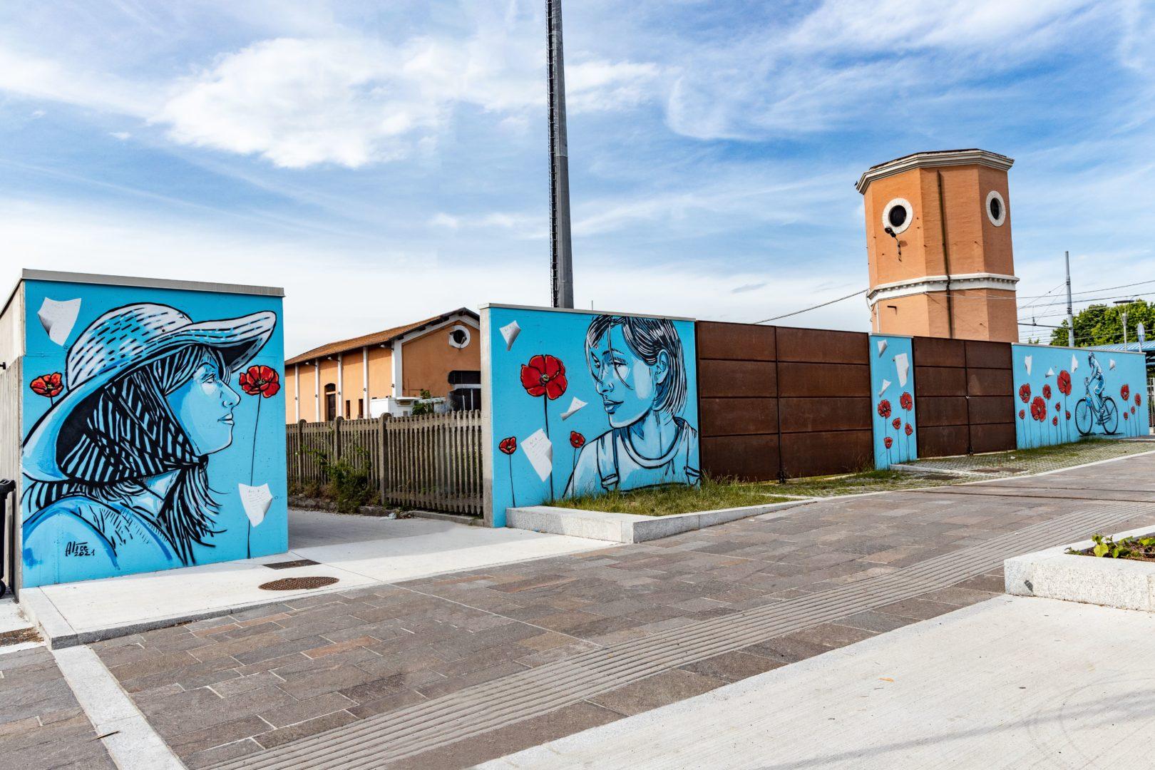 """Taglio del nastro del murale """"Mille papaveri rossi"""" di Alicè"""
